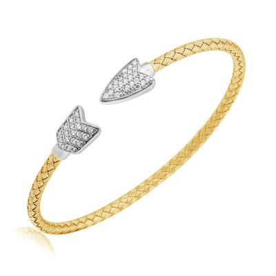 "JDGEMSTONE ""Beloved""Bracelet 18K White&Rose Gold Bangle Swarovski Crystal,Gift Packing,Allergen-free"